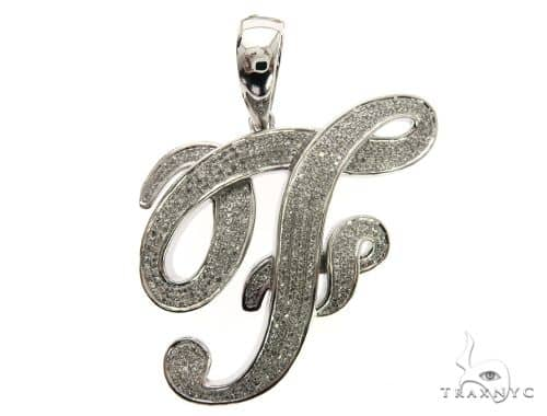 10K White Gold Diamond 'F' Initial Pendant 63554 Metal