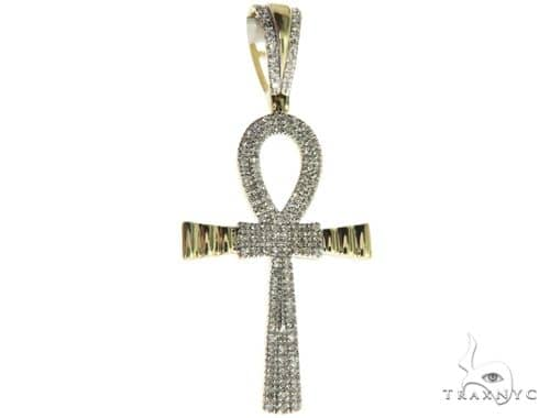 10K Yellow Gold Micro Pave Diamond Small Ankh Cross Crucifix 63611 Metal