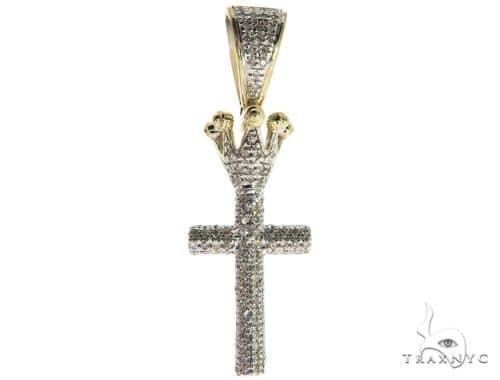 10K Gold Micro Pave Diamond Small Crowned Cross Crucifix 63614 Metal