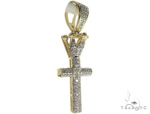 10K Yellow Gold Micro Pave Diamond Small Crowned Cross Crucifix 63614 Metal