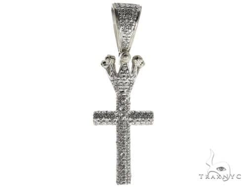 10K White Gold Micro Pave Diamond Small Crowned Cross Crucifix 63615 Metal