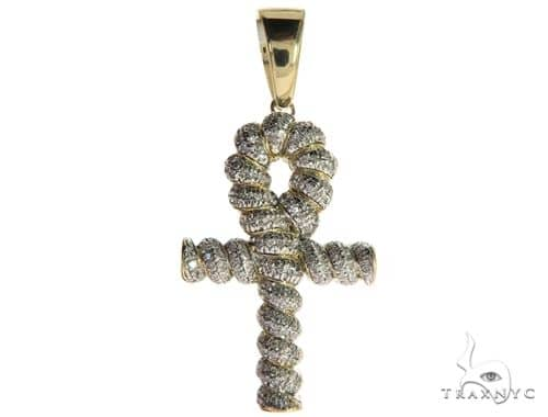 10K Yellow Gold Micro Pave Diamond Twisted Ankh Cross Crucifix 63617 Metal