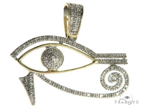 10K Yellow Gold Micro Pave Diamond Egyptian Bedouin Evil Eye Charm Pendant 63620 Metal