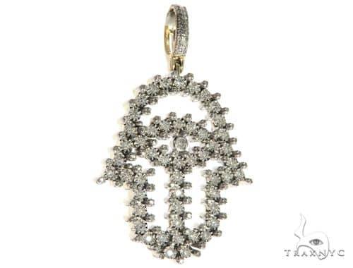10K Yellow Gold Micro Pave Diamond Hamsa Hand Pendant 63625 Metal