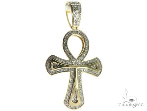 10K Yellow Gold Micro Pave Diamond Ankh Cross Crucifix 63627 Metal