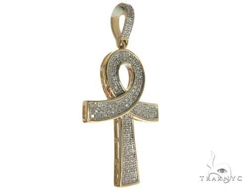 10K Yellow Gold Micro Pave Diamond Ankh Cross Crucifix 63628 Metal