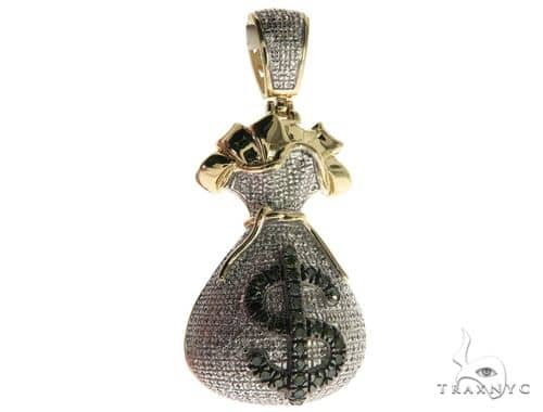 10K Yellow Gold Micro Pave Diamond Money Bag Dollar Sign Charm Pendant 63632 Metal