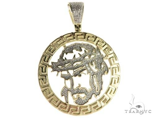 10K Yellow Gold Micro Pave Diamond Jesus Head Round Charm Pendant 63652 Metal