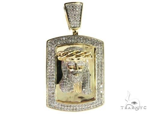10K Yellow Gold Micro Pave Diamond Jesus Head Charm Pendant 63656 Metal