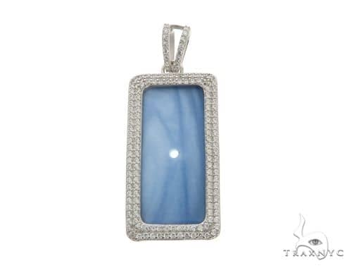 White Dog Tag Pendant 63698 Metal