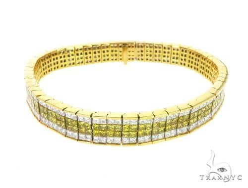 14K Yellow Gold Dual Color Diamond Bracelet 63737 Diamond