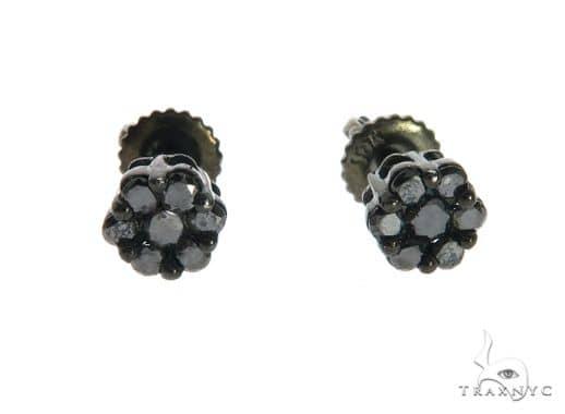 10K Black Gold Cluster Earrings 63739 Stone