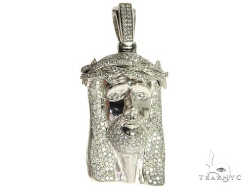 14K White Gold Prong Bezel Diamond Jesus Head Pendant 63776 Style