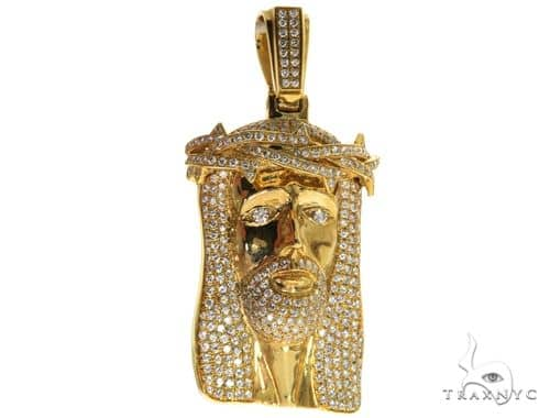 14K Gold Diamond Jesus Piece 63777 Style
