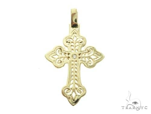 14K Yellow Gold Bezel Cross Crucifix Pendant 63778 Metal