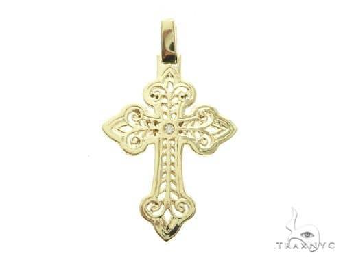 14K Yellow Gold Bezel Cross Crucifix Pendant 63778 Metal