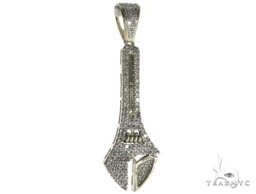 10K White Gold Micro Pave Diamond Small Wrench Charm Pendant 63810 Metal