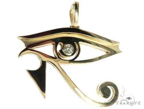 Custom Made Bezel Diamond Eye of Horus Pendant Egyptian Evil Eye 63812 Metal