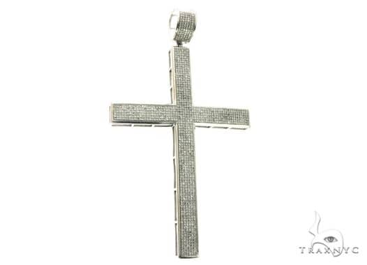 14K White Gold Micro Pave Diamond Cross Crucifix Pendant 63851 Metal