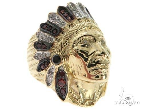 14K Yellow Gold Prong Bezel Diamond Indian Head Ring 63858 Stone