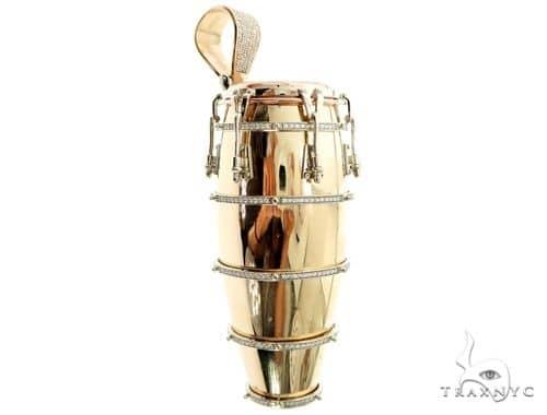 14K Three Tone Gold Pave Prong Diamond Conga Drum Pendant 63859 Metal