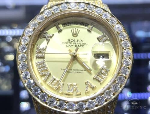 36mm Day-Date Diamond Rolex Watch Iced Out 63865