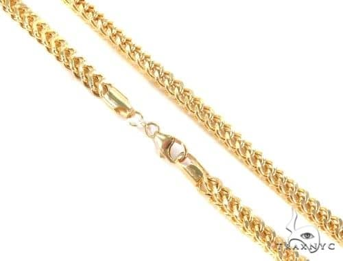 14K Yellow Gold Diamond Cut Hollow Franco Link Chain 22 Inches 4mm 26.4 Grams Gold