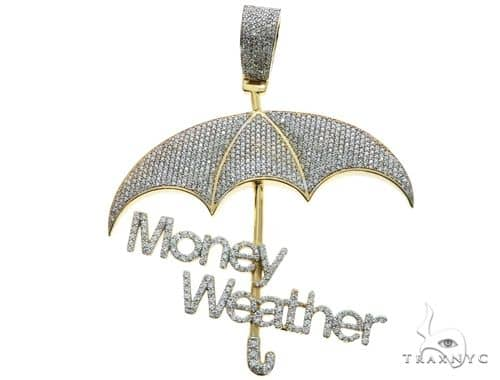 Custom Made Money Weather Umbrella Diamond Pendant 63882 Metal