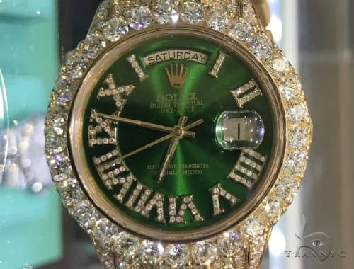 36mm Fully Iced 18K Yellow Gold Presidential Rolex Watch Diamond Rolex Watch Collection