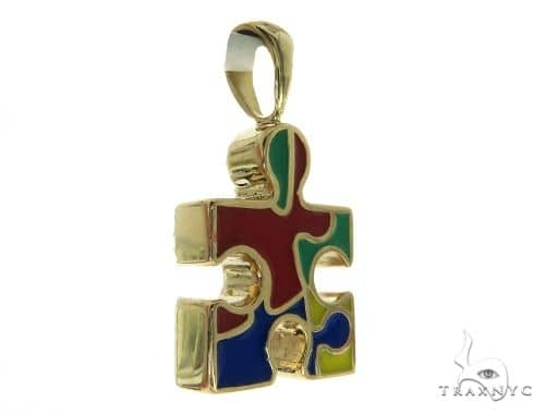 CHARITY 14K Yellow Gold Diamond Puzzle Piece Pendant Stone