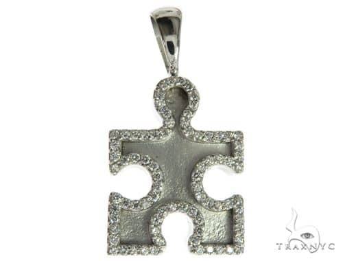 CHARITY 14K White Gold Diamond Puzzle Piece Pendant Stone