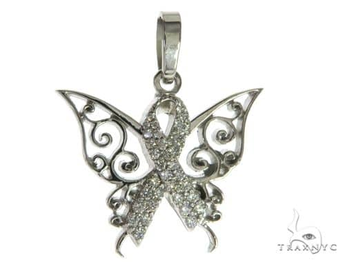 CHARITY 14K White Gold Diamond Butterfly Pendant 63906 Stone