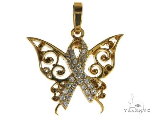 CHARITY 14K Yellow Gold Diamond Butterfly Pendant 63907 Stone