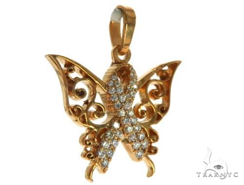 CHARITY 14K Rose Gold Diamond Butterfly Pendant 63908 Stone
