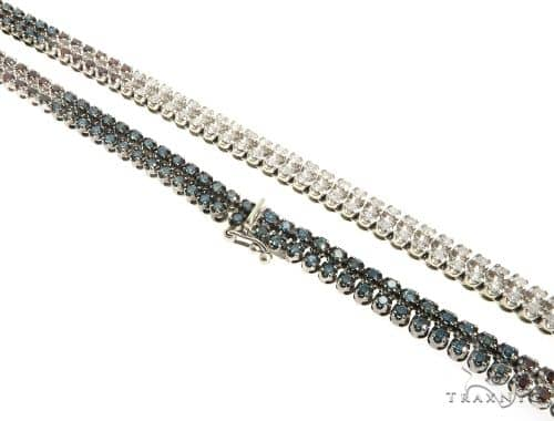 14k White Gold 2-Row Diamond Chain 63910 Diamond