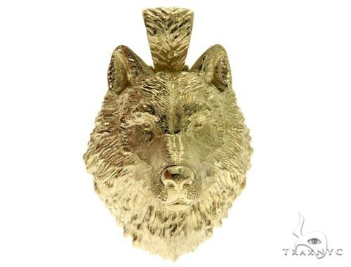 14K Yellow Gold Wolf Head Charm Pendant 62497 Metal