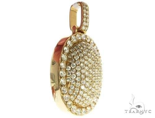 14K Yellow Gold Diamond Round Pendant 63948 Stone