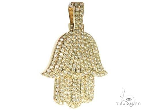 14K Yellow Gold Pave Diamond Hamsa Hand Pendant 63950 Metal
