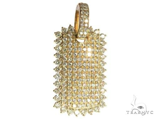 14K Yellow Gold Pave Diamond Dog Tag Charm Pendant 63951 Metal