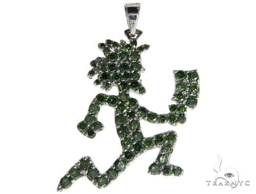 14K White Gold Green Diamonds Hatchet Man Pendant 63955 Metal