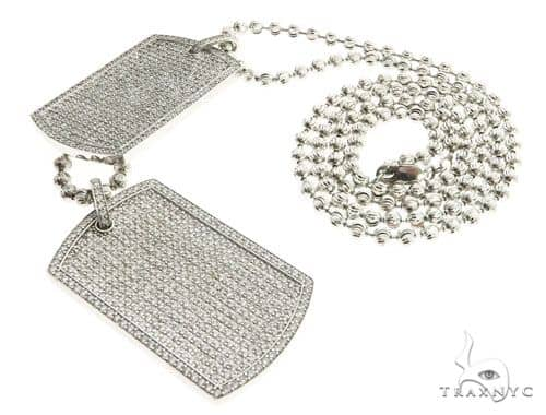 Pave Diamond Double Dog Tag Pendants Moon Cut Chain Set 63994 Metal