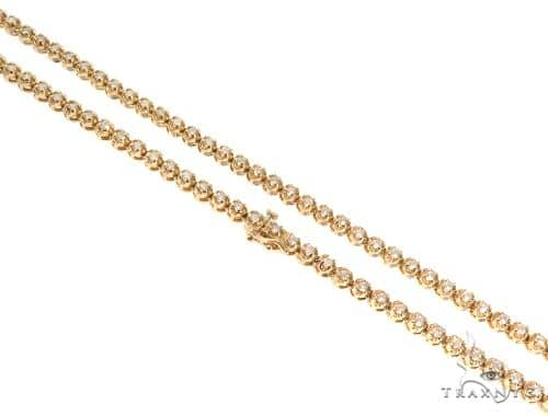 Round Cut Prong Diamond Chain 22 Inches 4mm 41.4 Grams 64001 Diamond