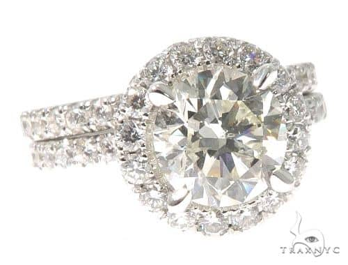 Diamond Engagement Halo Rings Set 64004 Engagement