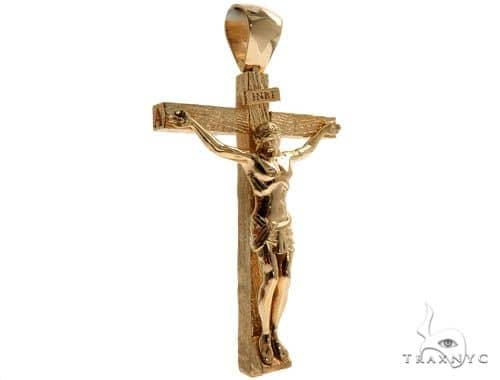 Custom 18K Yellow Gold Crucifix Jesus Cross Charm Pendant 64006 Gold