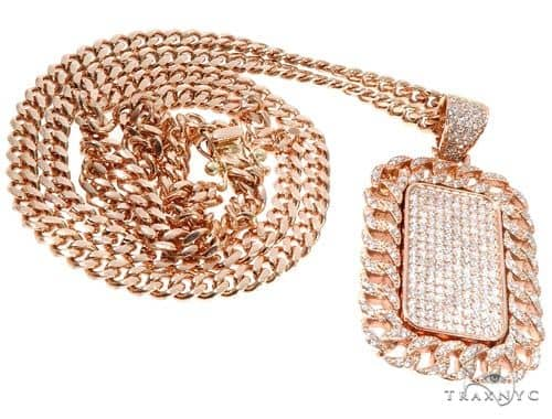 Rose Gold Micro Pave Diamond Dog Tag Set Metal