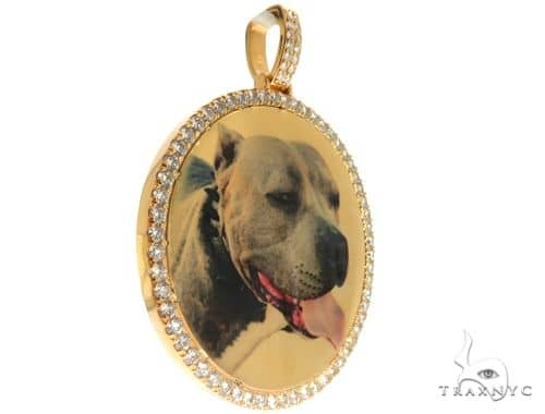 Custom Gold Medallion Photo Pendant 64013 Metal