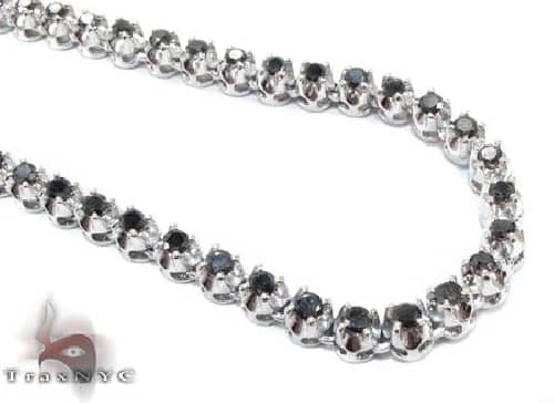 White Gold Black Diamond Chain 28 Inches 5mm 43.7 Grams 64018 Diamond