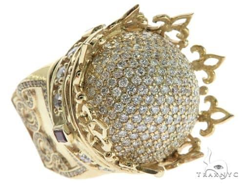 Custom Made 14K Yellow Gold Prong Diamond Royal Crown Ring Stone