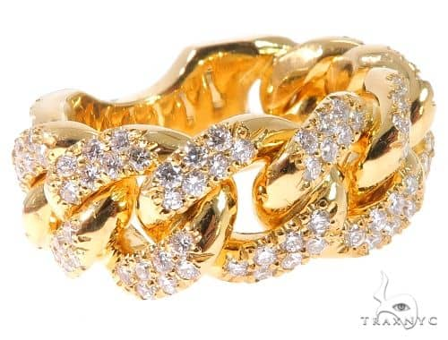 14K Yellow Gold Micro Pave Diamond Cuban Link Ring 64028 Stone