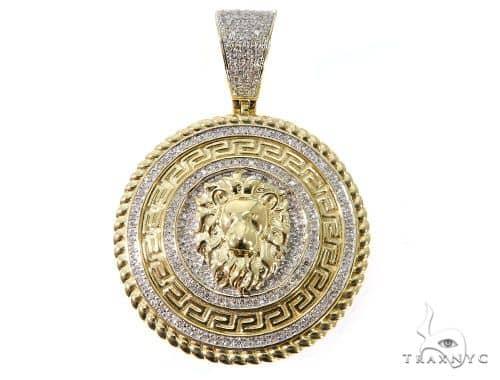 Diamond Lion Medallion Pendant 64039 Metal